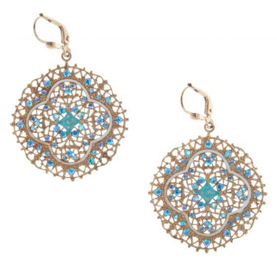Catherine Popesco Blue French Enamel Crystal Filigree Lotus Earrings