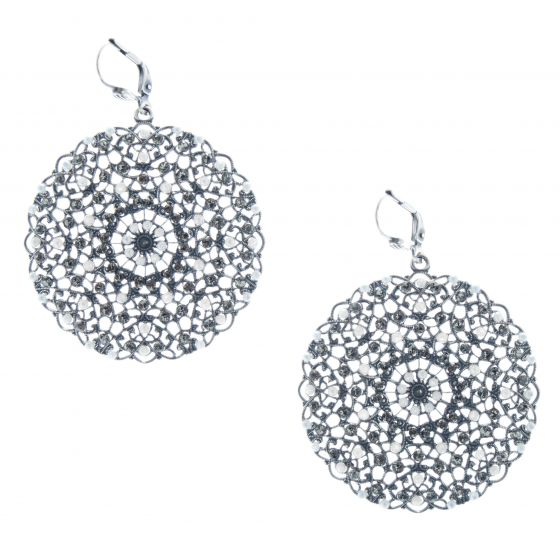 Catherine Popesco Silver Medallion Large Round Filigree Crystal Earrings