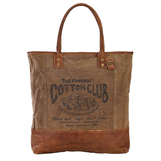 The Famous Cotton Club Large Leather & Canvas Tote Bag by Clea Ray
