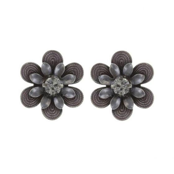 Konplott Jewelry - Mille Fleurs Pink Enamel Crystal Flower Stud Earrings