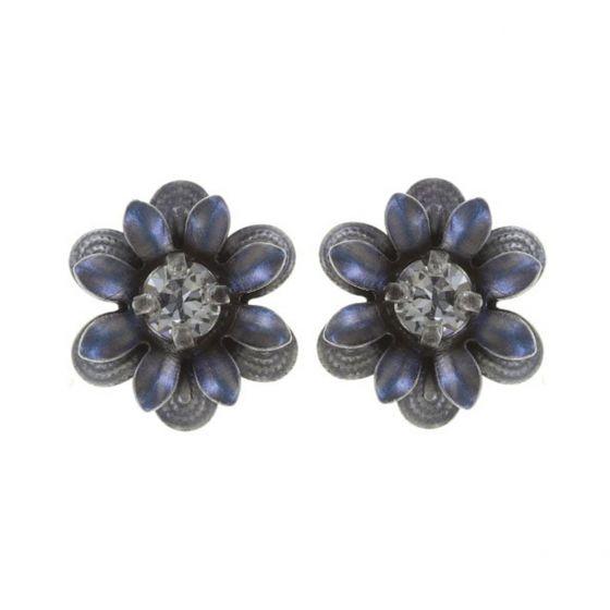Konplott Jewelry - Mille Fleurs Blue Enamel Crystal Flower Stud Earrings