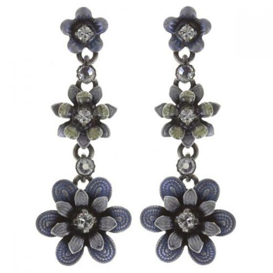 Konplott Jewelry - Mille Fleurs Enamel Crystal Triple Flower Dangle Earrings