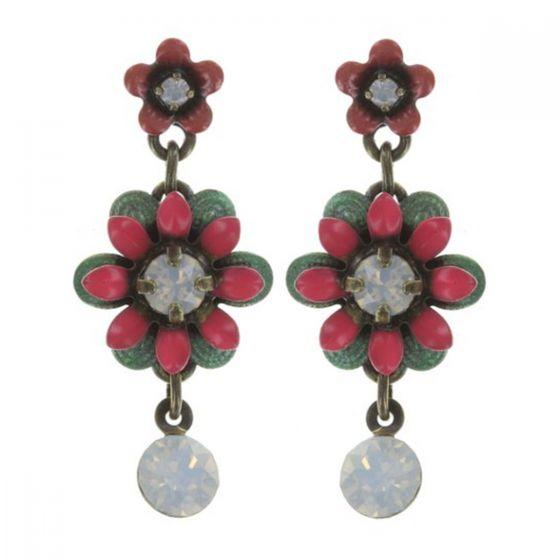 Konplott Jewelry - Pink Mille Fleurs Enamel Crystal Flower Dangle Earrings