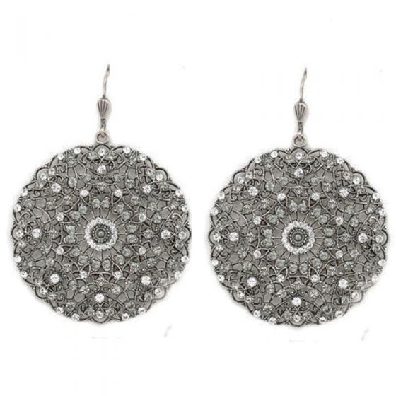 Catherine Popesco Large Lacy Crystal and Silver Round Earrings