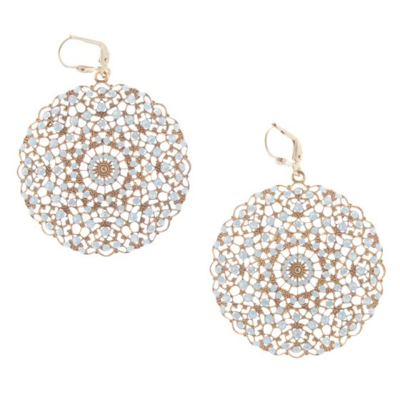 Catherine Popesco White Opal Lacy Medallion Filigree Crystal Earrings