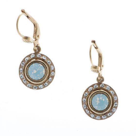 Catherine Popesco White Opal Small Round Rhinestone Dangle Earrings