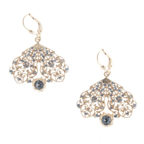 Catherine Popesco Black Diamond Crystal Filigree Earrings