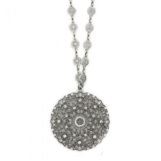 Catherine Popesco Large Round Filigree Lacy Medallion Silver Crystal Necklace