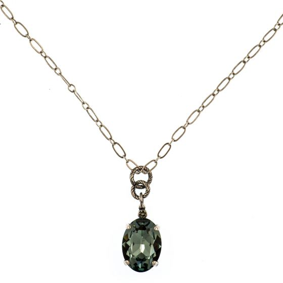 Oval Crystal Necklace - Indian Sapphire and Silver