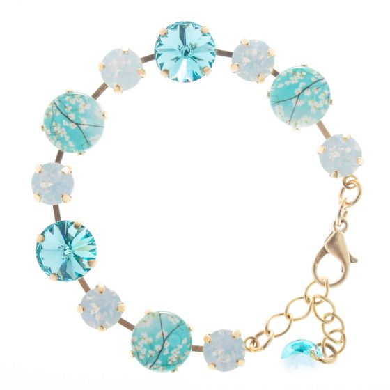 Lisa Marie Jewelry White & Aqua Almond Blossoms Swarovski Crystal Bracelet