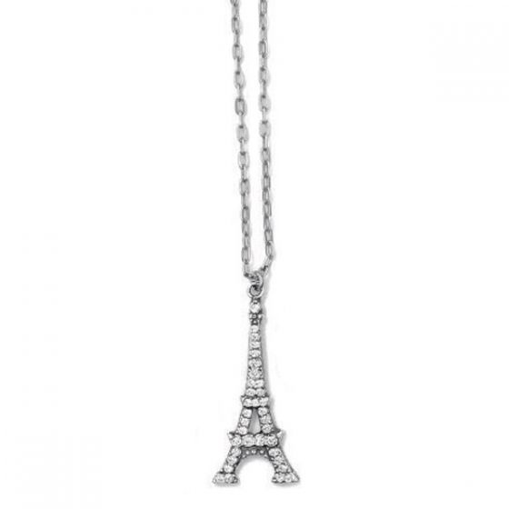 Eiffel Tower Crystal Silver Necklace
