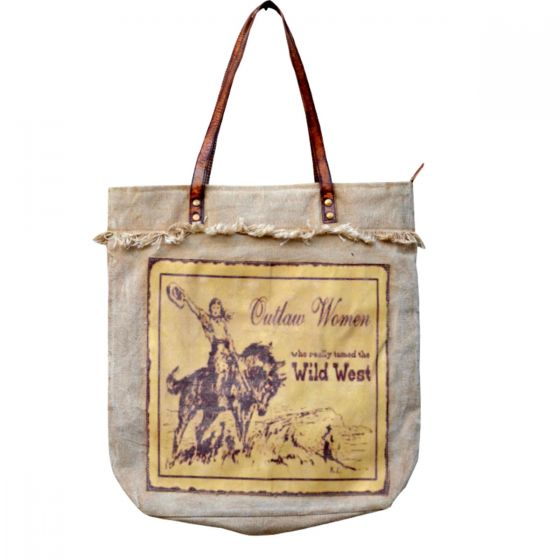 Outlaw Woman Wild West Cowgirl Leather & Canvas Tote Bag/Purse by Clea Ray