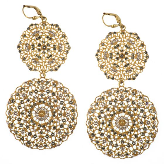 Catherine Popesco Large Round Gold Double Filigree Earrings