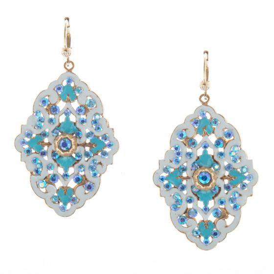 Catherine Popesco Louis Gift French Enamel Crystal Earrings - Blue & White