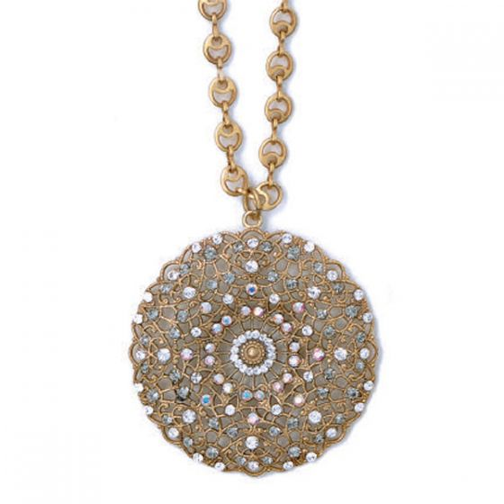 Catherine Popesco Large Lacy Medallion Gold Crystal Necklace - Assorted Colors