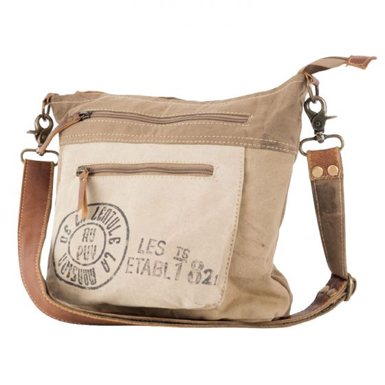 Au Puy French Post Leather & Canvas Shoulder Bag/Purse by Clea Ray