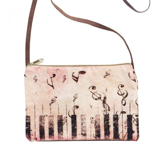 Piano Keys Music Notes Sling Purse with Leather Strap by Clea Ray
