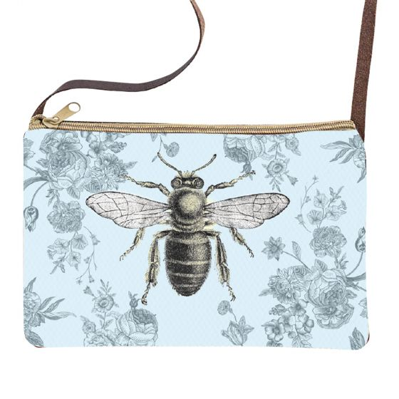 Floral Bee Sling Purse with Leather Strap by Clea Ray