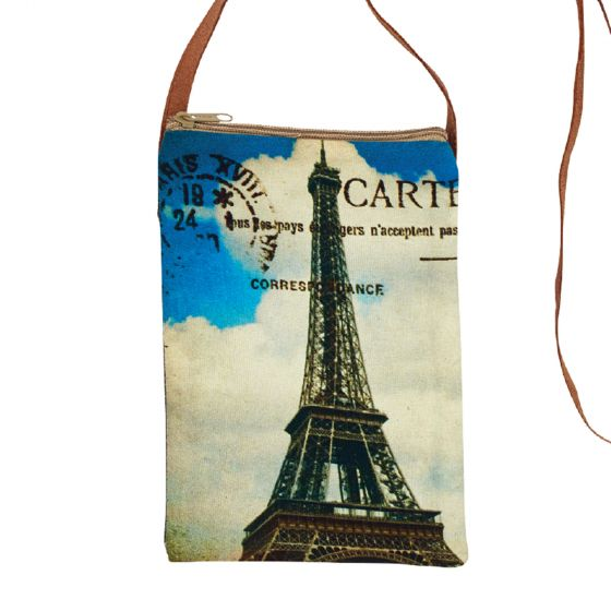 Paris Eiffel Tower Passpart Sling Purse with Leather Strap by Clea Ray