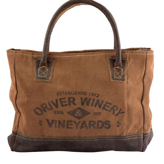 Oriver Winery Vinyards Leather & Canvas Tote by Clea Ray