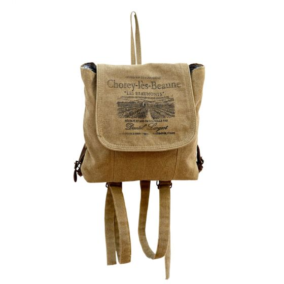Chorey-les-Beaune Vintage Canvas Backpack by Clea Ray