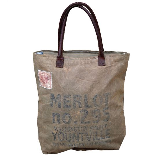Merlot Yountville Napa Valley Leather & Canvas Tote by Clea Ray