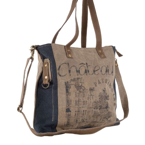 Chateau Large Leather & Canvas Shoulder Tote with Strap by Clea Ray