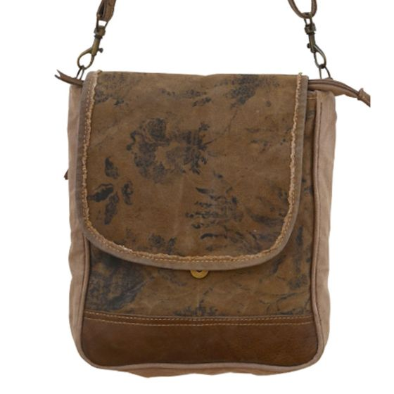 Vintage Floral Leather & Canvas Messinger Bag/Purse by Clea Ray