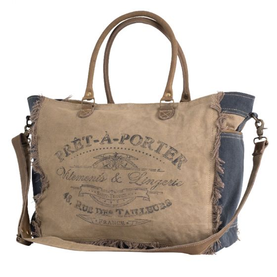 """French Pret-A-Porter """"Ready To Wear"""" Canvas Duffel Bag by Clea Ray"""