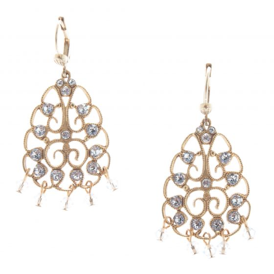 Catherine Popesco Clear Crystal Beaded Filigree Earrings