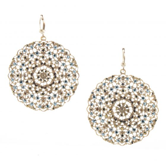 Catherine Popesco Lacy Medallion Filigree Crystal Earrings - Dorado