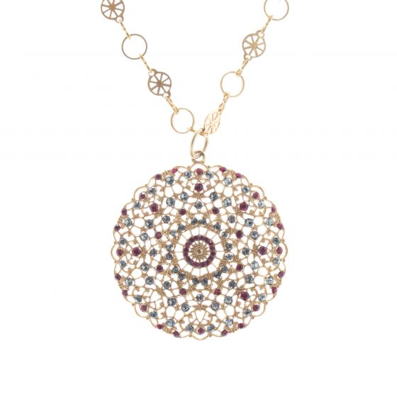 Catherine Popesco Lacy Medallion Filigree Red Siam Crystal Pendant Necklace