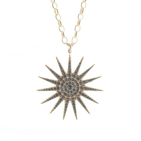 "Catherine Popesco Black Diamond Crystal Starburst Pendant 28"" Necklace"