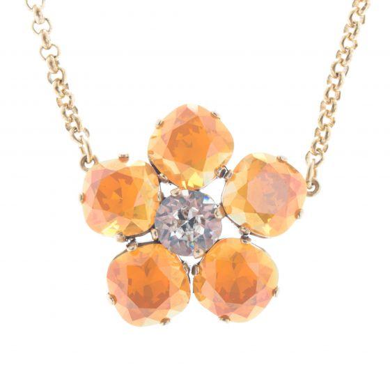 Catherine Popesco Large Stone Crystal Flower Necklace - Golden Blush