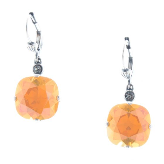 Catherine Popesco 12mm Large Stone Crystal Earrings - Golden Blush