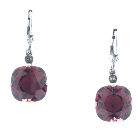 Catherine Popesco 12mm Large Stone Crystal Earrings - Burgundy