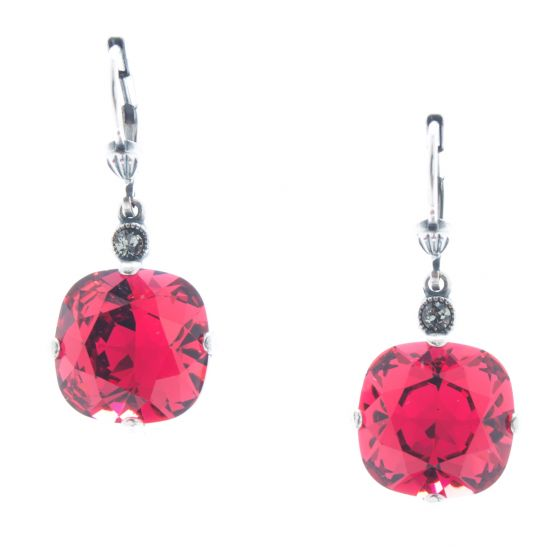 Catherine Popesco 12mm Large Stone Crystal Earrings - Scarlet Red