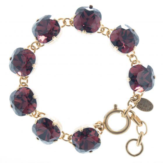 Catherine Popesco 12mm Large Stone Crystal Bracelet - Burgundy