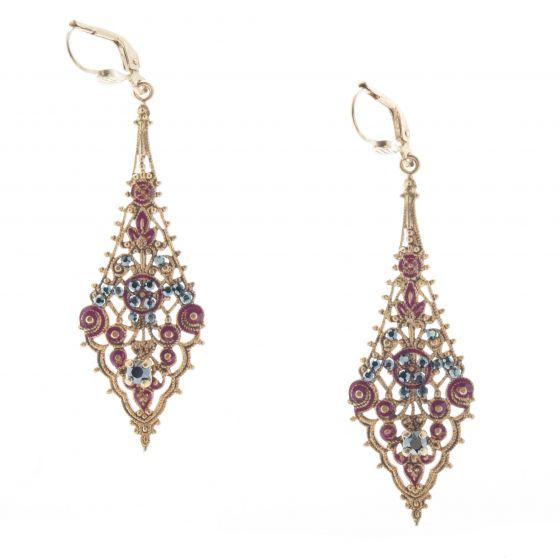 Catherine Popesco French Enamel Filigree Earrings - Burgundy Dorado