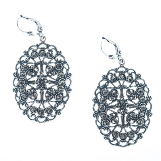 Catherine Popesco Silver Oval Filigree Crystal Earrings - Black Diamond