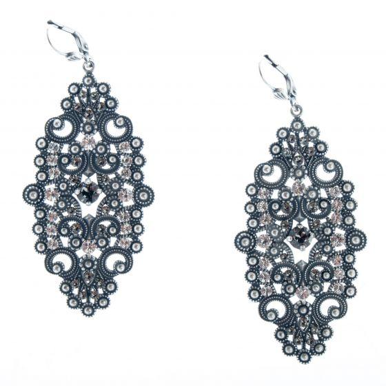 Catherine Popesco Large Silver Oblong Filigree Crystal Earrings