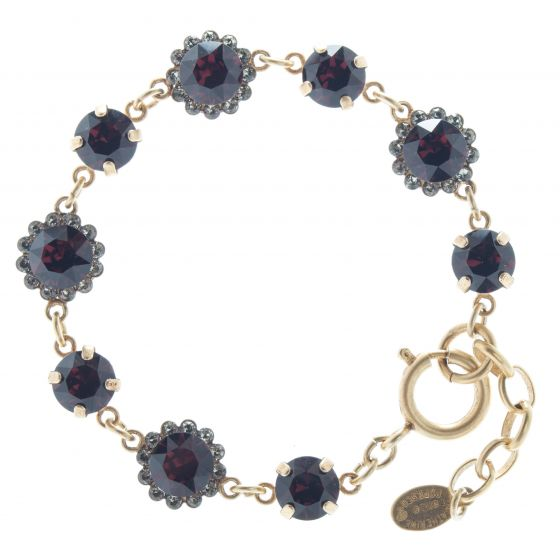 Catherine Popesco 8mm Stone & Flower Crystal Bracelet - Burgundy