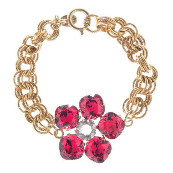 Catherine Popesco Large Stone Crystal Flower Bracelet - Scarlet