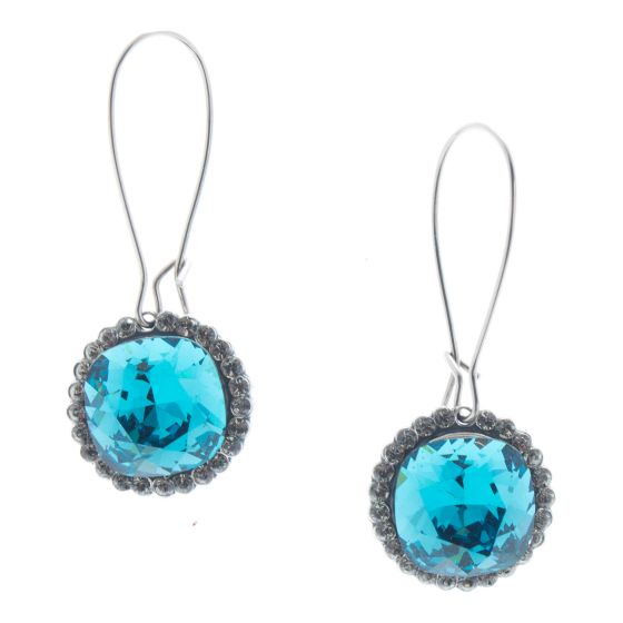 Catherine Popesco Silver Teal Playa Dust Crystal Border Earrings