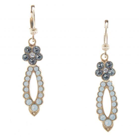 Catherine Popesco Gold & White Opal Flower & Loop Crystal Earrings