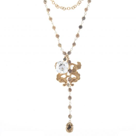 Catherine Popesco Crystal Charm Necklace with Natural Stone Chain