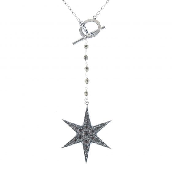 Catherine Popesco Silver Crystal Drop Star Pendant Necklace with Toggle