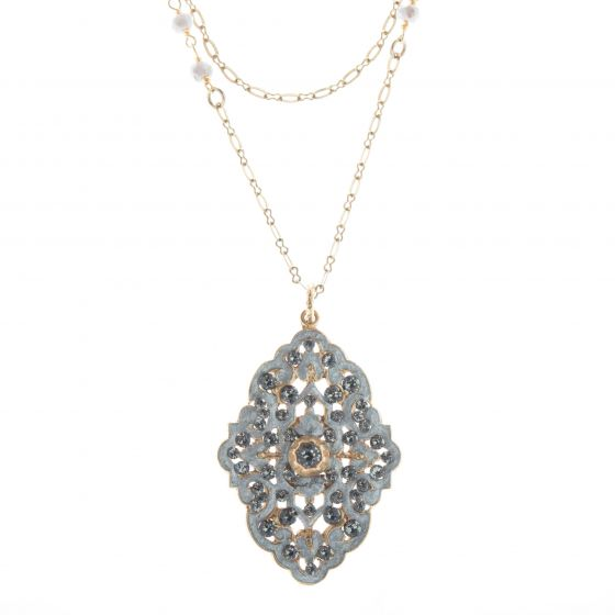 Catherine Popesco French Enamel Crystal Necklace with Natural Stone Chain