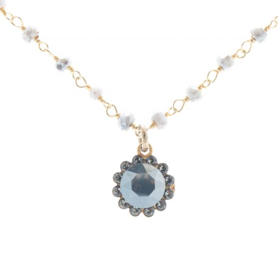 Catherine Popesco Crystal Flower Necklace with Semi Precious Beads