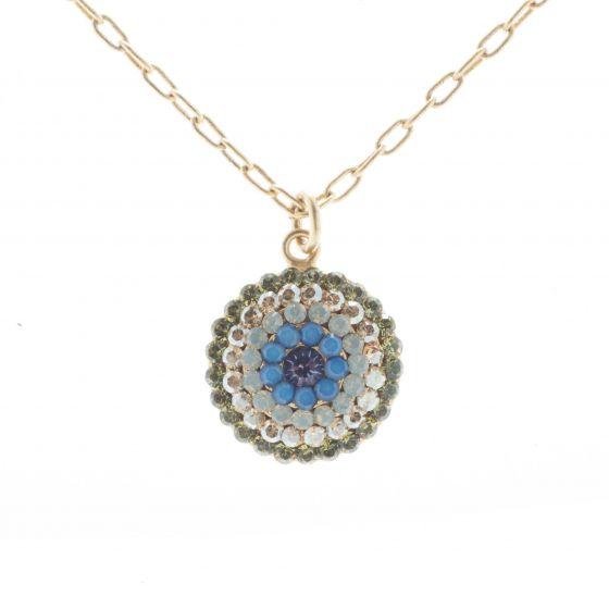 Catherine Popesco Gold Round Pave Crystal Necklace - Sky Blue & Olivine